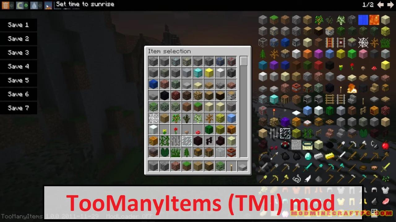 TooManyItems (TMI) mod